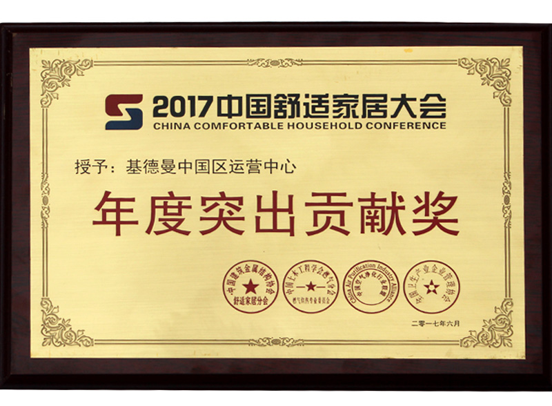 2017中国舒适家居大会年度突出贡献奖